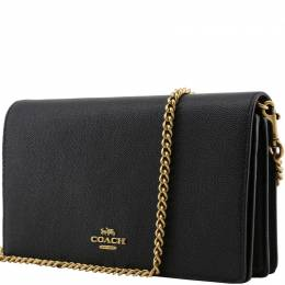 Coach Black Pebble Leather Chain Clutch Bag 199148