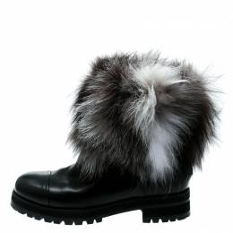 Jimmy Choo Black Leather With Fox Fur Dana Ankle Boots Size 39.5 180757
