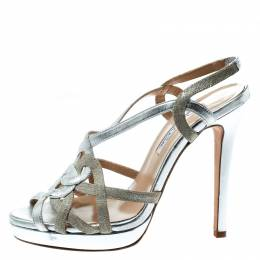Oscar de la Renta Metallic Silver Leather Romantica Slingback Sandals Size 37 180964