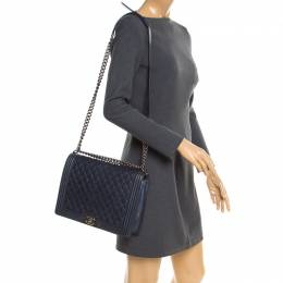 Navy Blue Quilted Leather Large Boy Flap Bag Chanel