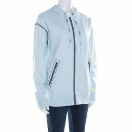 Marc by Marc Jacobs Powder Blue Contrast Top Stitch Detail Hooded Jacket S 184896