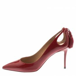 Aquazzura Red Patent Leather Forever Marilyn 85 Cut Out Tassel Detail Pointed Toe Pumps Size 38 185321