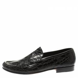 Moreschi Black Croc Leather Loafers Size 40 185547