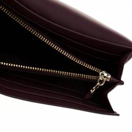 Tod's Bordeaux Leather Fox Detail Continental Wallet 187067