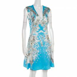 Roberto Cavalli Blue Floral Printed Satin Sleeveless Flared Dress S 185588