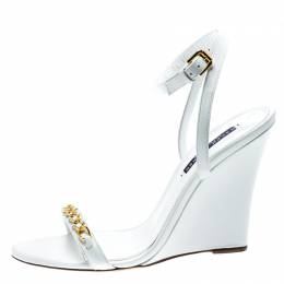 Ralph Lauren White Leather Chain Detail Ankle Wrap Wedge Sandals Size 40 185367
