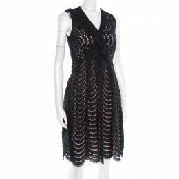 Marc by Marc Jacobs Navy Blue Eyelet Embroidered Ruffle Detail Edith Dress S 186154