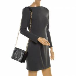 Tory Burch Black Perforated Logo Leather Fold Over Crossbody Bag 187264