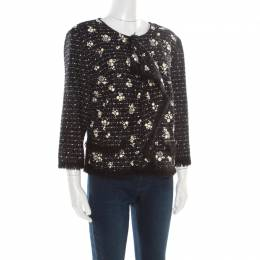 St. John Couture Black Tweed Faux Pearl Studded Ruffle Front Jacket L 186123