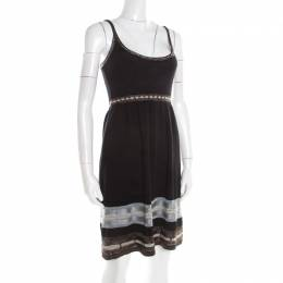 M Missoni Black Knit Contrast Metallic Trim Detail Sleeveless Dress S 192577