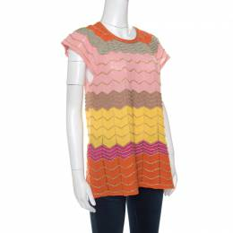 M Missoni Multicolor Perforated Lurex Knit Chevron Pattern Cap Sleeve Top L