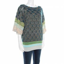 Missoni Multicolor Chunky Perforated Knit Boat Neck Sweater M 193880