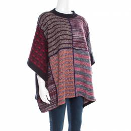 See by Chloe Multicolor Patchwork Oversized Poncho Style Sweater XS 193850