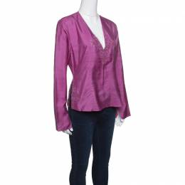 Emporio Armani Pink Raw Silk Embellished Long Sleeve Top L 146022