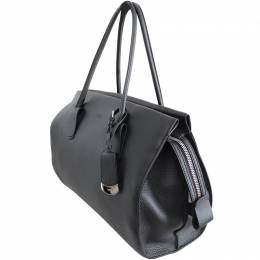 Tod's Black Leather Bowling Leather Top Handle Bag 188639