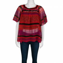 M Missoni Multicolor Striped Perforated Textured Knit Top M