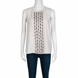 Max Mara	 Cream Contrast Embellished Sleeveless Top M 136979