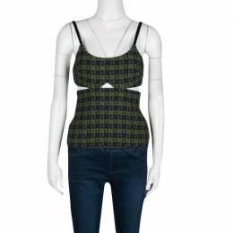 Victoria Beckham	 Green and Navy Blue Jacquard Cutout Detail Top S