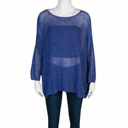 M Missoni Blue Lurex Perforated Knit Oversized Top S 136461