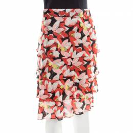Sonia Rykiel Multicolor Floral Printed Cotton Tiered Skirt L 193833