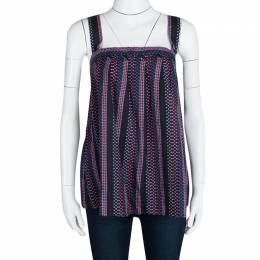 Marc by Marc Jacobs Navy Blue Cotton Silk Dotted Sleeveless Top L 113386