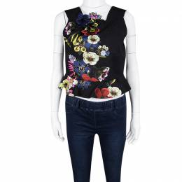 Erdem Black Jacquard Floral Applique Frankie Cropped Peplum Top M 109632