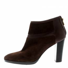 Loro Piana Brown Suede And Leather Ankle Boots Size 40 194885