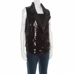 Dolce and Gabbana Black Sequined Double Breasted Vest M 194729