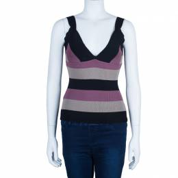 Herve Leger Tricolor Sleeveless Bandage Top S 762