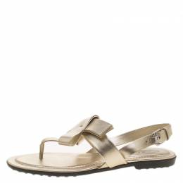 Tod's Metallic Gold Leather Bow Detail Flat Thong Sandals Size 37.5 195073
