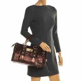 Versace Bronze Snakeskin Embossed Leather Couture Boston Bag
