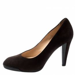 Tod's Brown Suede And Leather Almond Toe Pumps Size 37.5 195216