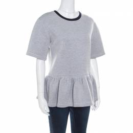 Dior Grey Knit Contrast Ribbed Neck Peplum Top S 170949