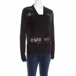 Chloe Black Knit Floral Lace Panel Long Sleeve Button Front Cardigan S 195890