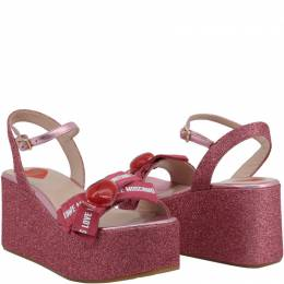 Love Moschino Pink Glitter Fabric Ankle Strap Platform Wedge Sandals Size 37