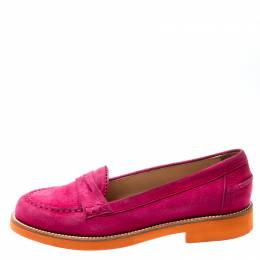 Tod's Fuchsia Pink Suede Penny Loafers Size 37.5 Tod's 198435