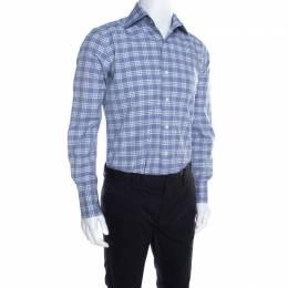Tom Ford Blue and White Plaid Checked Cotton Long Sleeve Shirt M