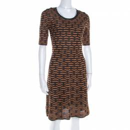 M Missoni Black and Gold Textured Lurex Knit A Line Dress S 198486