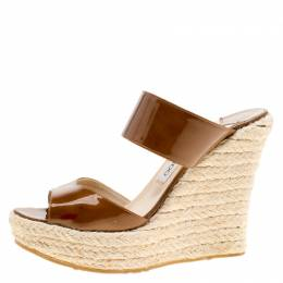 Jimmy Choo Brown Patent Leather Espadrille Wedge Slides Size 38 154923