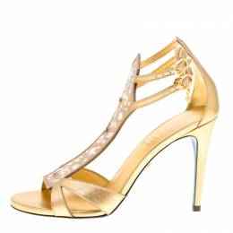 Loriblu Metallic Gold Leather and Suede Crystal Embellished Sandals Size 38 156544