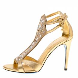 Loriblu Metallic Gold Leather and Suede Crystal Embellished Sandals Size 37.5 154138