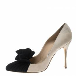 Manolo Blahnik Beige and Black Suede Arleti Frill Detail Pumps Size 41 150373