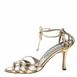 Manolo Blahnik Metallic Gold Leather Strappy Ankle Wrap Sandals Size 38 148829