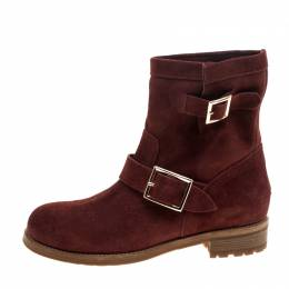 Jimmy Choo Brick Suede Youth Buckle Detail Biker Boots Size 37.5 145549