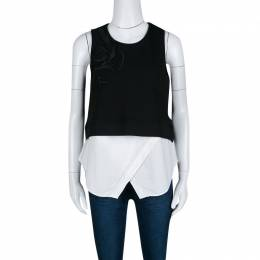 Derek Lam Monochrome Embroidered Ribbed Knit Sleeveless Layered Top S 140148
