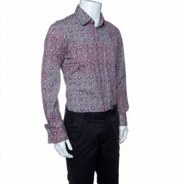 Just Cavalli Multicolor Striped Floral Printed Long Sleeve Slim Fit Shirt XL 142610