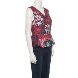 Peter Pilotto Multicolor Textured Water Orchid Print Cloque Peplum Top M 141641