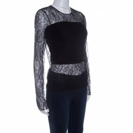 Dior Black Floral Lace Long Sleeve Top M 142249