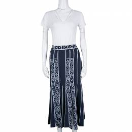 Peter Pilotto Navy Blue and White Index Knit Slit Detail Midi Skirt M 140216