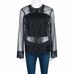 Christopher Kane Black Lace Trim Sheer Tulle Jacket M 140170